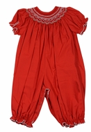 Le Za Me Baby Girls Smocked Red Christmas Long Romper