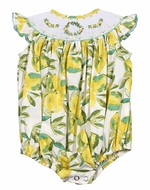 Le Za Me Baby Girls Yellow Lemons Print Smocked Bubble