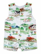 Le Za Me Baby / Toddler Boys Green Farm Print Shortall