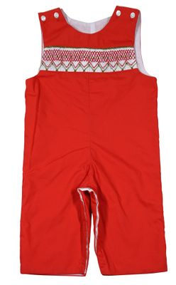 Le Za Me Baby / Toddler Boys Smocked Red Christmas Longall