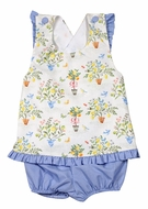 Le Za Me Baby / Toddler Girls Blue Gingham / Yellow Lemon Tree Topiary Bloomers Set