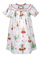Le Za Me Baby / Toddler Girls Christmas Pixie Fairy Print Dress - Smocked Bishop