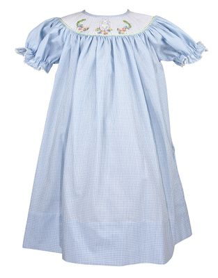 Le Za Me Baby / Toddler Girls Blue Gingham Smocked Easter Bunny Bishop Dress