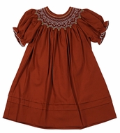 Le Za Me Baby / Toddler Girls Smocked Bishop Dress - Burnt Orange Rust