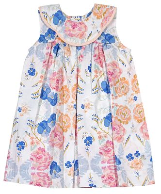 Le Za Me Baby / Toddler Girls Blue / Peach Floral Garden Bib Dress