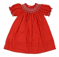 Le Za Me Baby / Toddler Girls Smocked Red Christmas Dress - Bishop