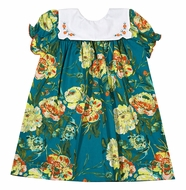 Le Za Me Baby / Toddler Girls Teal Green Floral Square Collar Dress