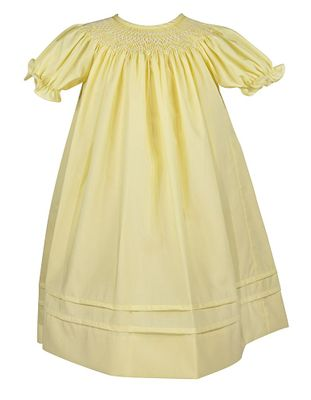 Le Za Me Baby / Toddler Girls Smocked Bishop Dress - Yellow