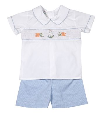 Le Za Me Boys Blue Gingham Pull On Shorts with Smocked Easter Bunny Shirt