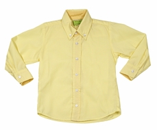 Le Za Me Boys Button Down Dress Shirt - Contrasting Cuffs - Yellow