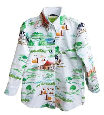 Le Za Me Boys Green Farm Print Michael Shirt