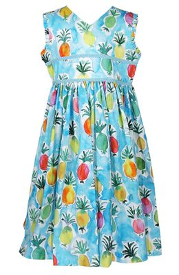 Le Za Me Girls Blue Colorful Pineapples Print Back Cut Out Sun Dress