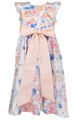 Le Za Me Girls Blue / Peach Floral Garden Ruffle Dress with Sash