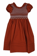 Le Za Me Girls Burnt Orange Rust Dress - Ruffle Neck - Sash - Fully Smocked Bodice