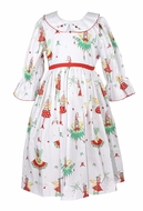 Le Za Me Girls Christmas Pixie Fairy Print Dress - Bell Sleeves
