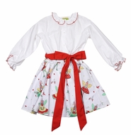 Le Za Me Girls Christmas Pixie Fairy Print Skirt Set - Red Sash - Blouse