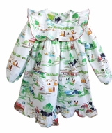 Le Za Me Girls Green Farm Print Inga Dress - Ruffle Yoke
