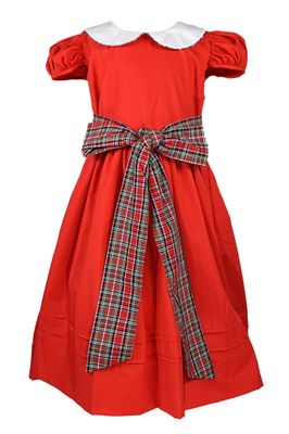 Le Za Me Girls Red Christmas Dress - Collar - Holiday Plaid Sash