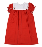 Le Za Me Girls Red Christmas Dress - Embroidered White Collar
