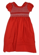 Le Za Me Girls Red Christmas Dress - Fully Smocked Bodice - Sash - Ruffle Neck