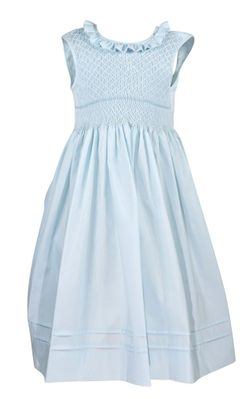 Le Za Me Girls Sleeveless Dress - Ruffle Neck - Fully Smocked Bodice - Light Blue