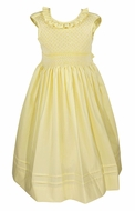 Le Za Me Girls Sleeveless Dress - Ruffle Neck - Fully Smocked Bodice - Yellow