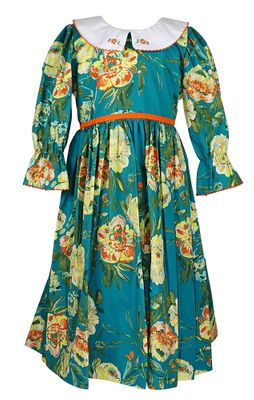 Le Za Me Girls Teal Green Floral Dress - Collar - Long Sleeves