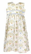 Le Za Me Girls Yellow / Blue Lemon Tree Topiary Dress - Key Hole Back