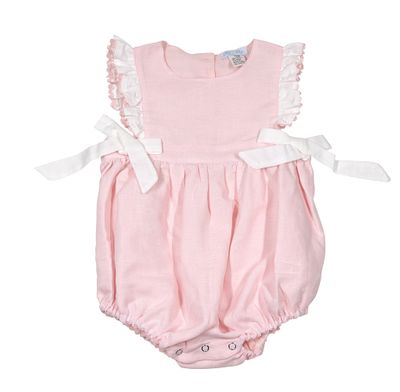 Me Me Baby / Toddler Girls Linen Blend Ruffle Bubble with Bows - Pink