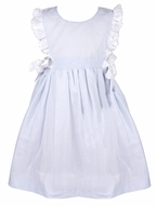 Me Me Girls Linen Blend Ruffle Dress with Bows - Blue