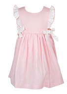 Me Me Girls Linen Blend Ruffle Dress with Bows - PInk