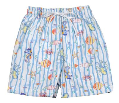 Le Za Me Toddler Boys Blue Ocean Theme Sea Creatures Swim Trunks