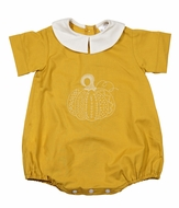 LeJenn's Mary Mary Baby Boys Fall Gold Embroidered Pumpkin Bubble