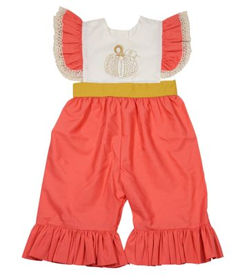 LeJenn's Mary Mary Baby Girls Coral Embroidered Pumpkin Ruffle Romper