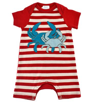 Lemon Loves Lime Baby Boys Red Striped Romper - Catch of the Day Crabs