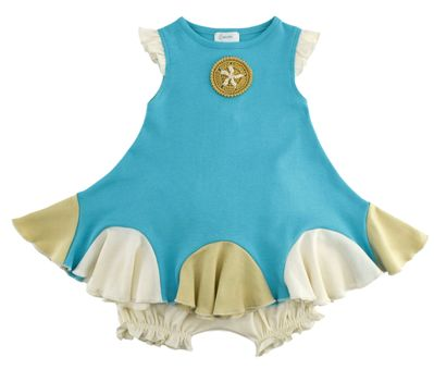 Lemon Loves Lime Baby Girls Blue Sand Dollar Dress Set