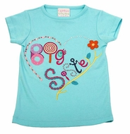 Lemon Loves Lime Girls Aruba Blue Big Sister Tee Shirt