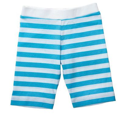 Lemon Loves Lime Girls Bike Shorts - Blue / White Stripes