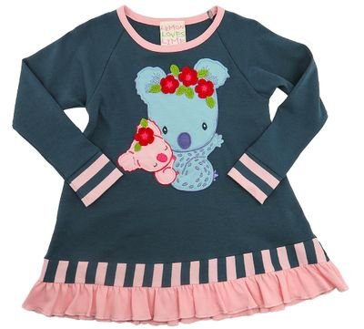 Lemon Loves Lime Girls Blue Koala Bear Hug Tunic