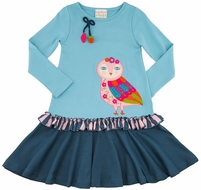 Lemon Loves Lime Girls Blue Moonlit Owl Dress