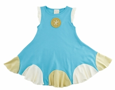Lemon Loves Lime Girls Blue Sand Dollar Dress