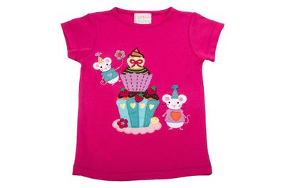 Lemon Loves Lime Girls Fuchsia Hot Pink Mice Cupcake Birthday Celebration Shirt