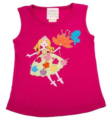 Lemon Loves Lime Girls Fuchsia Purple Butterfly Fairy Dance Tank Top