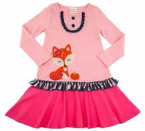 Lemon Loves Lime Girls Pink Autumn Fox Dress