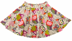 Lemon Loves Lime Girls Fall Owls Print Twirl Skirt