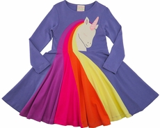 Lemon Loves Lime Girls Purple Rainbow Unicorn Dress