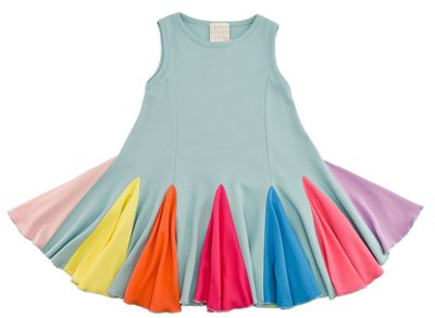 Lemon Loves Lime Girls Rainbow Carnival Swing Dress - Sterling Blue