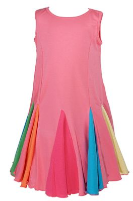 Lemon Loves Lime Girls Rainbow Carnival Swing Dress - Pink Lemonade