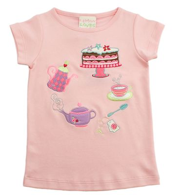 Lemon Loves Lime Girls Rose Shadow Pink Tea Party Birthday Tee Shirt