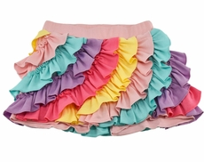 Lemon Loves Lime Girls Ruffle Skort - Multi Color Sprinkles